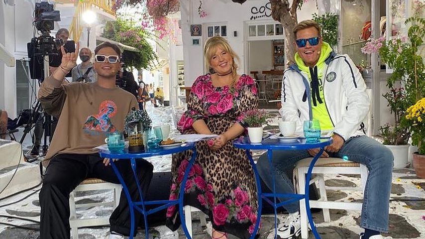 Die DSDS-Juroren Mike Singer, Maite Kelly und Dieter Bohlen auf Mykonos, 2020
