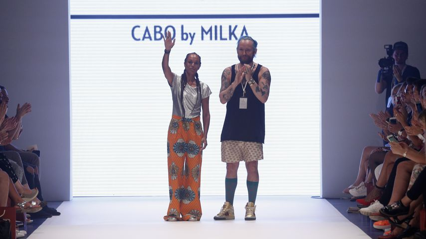 Milka Loff Fernandes und Franz-Josef Baur während der CABO by MILKA-Fashionshow in Düsseldorf