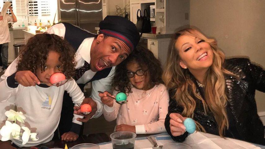 Nick Cannon und Mariah Carey mit ihren Kindern Maroccan Scott und Monroe an Ostern