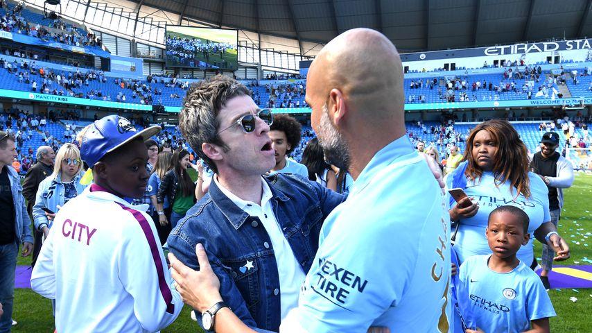 Noel Gallagher bei einem Fußballspiel von Manchester 2018