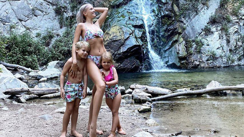 Oksana Kolenitchenko mit ihren Kindern Milan und Arielle