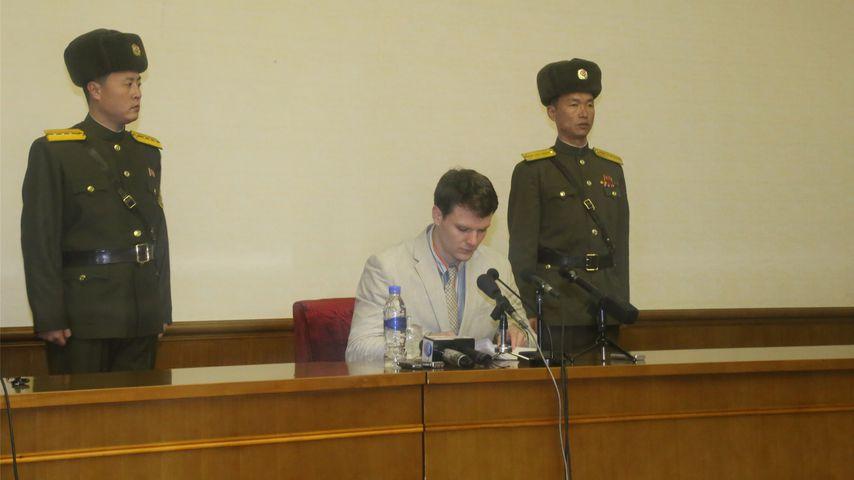 Otto Warmbier bei einer Pressekonferenz in Pjöngjang, 2016