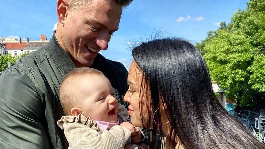 Patrick Fabian, Tochter Lilly und Freundin Lea im August 2020