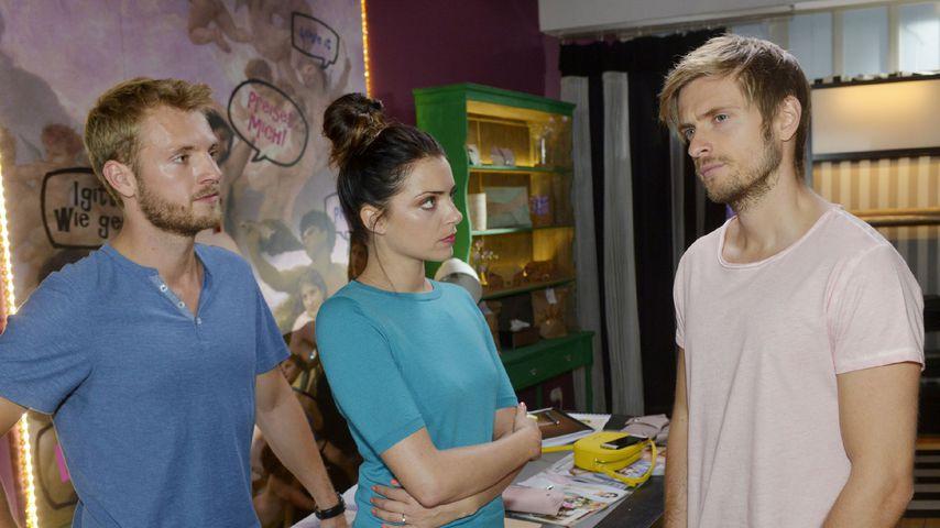 Paul (Niklas Osterloh), Emily (Anne Menden) und Philip (Jörn Schlönvoigt) bei GZSZ