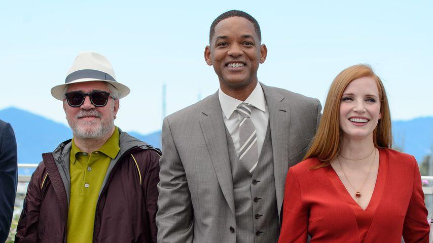 Pedro Almodovar, Will Smith und Jessica Chastain beim Jury-Fototermin in Cannes 2017