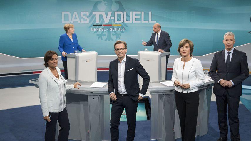 Peter Kloeppel, Maybrit Illner, Claus Strunz, Sandra Maischberger, Angela Merkel und Martin Schulz