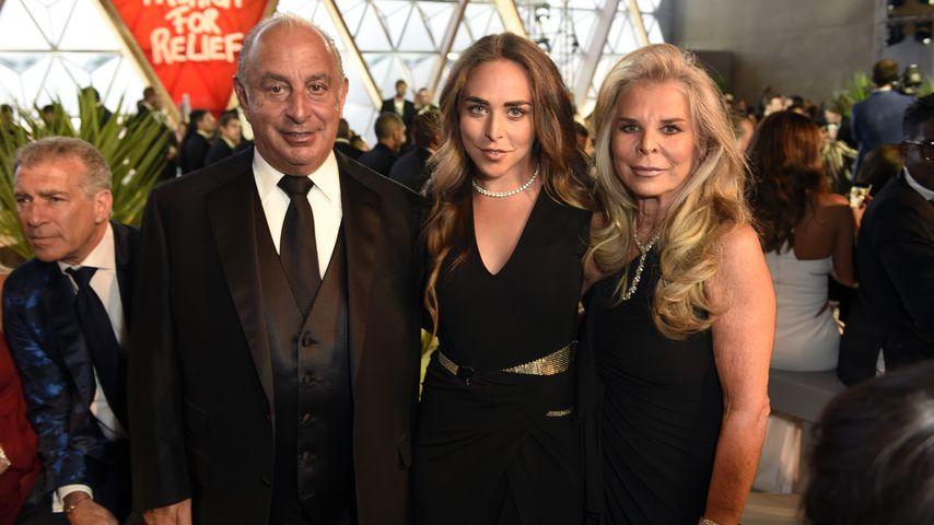 Philip Green mit seiner Tochter Chloe Green und Ehefrau Tina Green