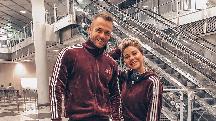 Philipp Stehler und Antonia Elena am Flughafen in München