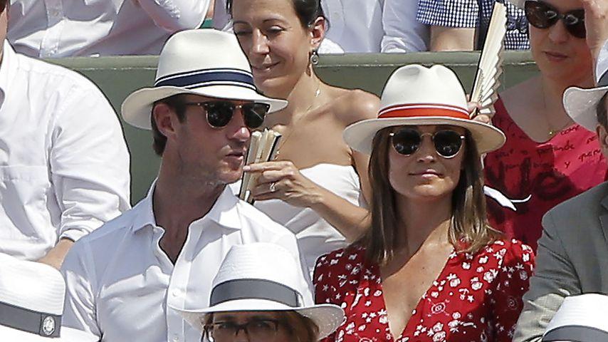 Pippa Middleton mit ihrem Mann auf der Tribüne des Roland Garros Stadions
