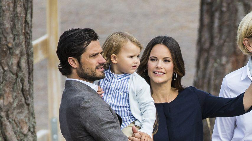 Prinz Carl Philip, Prinz Alexander und Prinzessin Sofia von Schweden im Nynäs Naturreservat