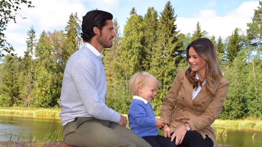 Prinz Carl Philip und Prinzessin Sofia von Schweden mit ihrem Sohn Gabriel