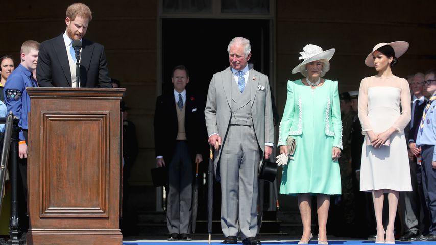 Prinz Harry, Prinz Charles, Herzogin Camilla und Herzogin Meghan an Prinz Charles' Geburtstag