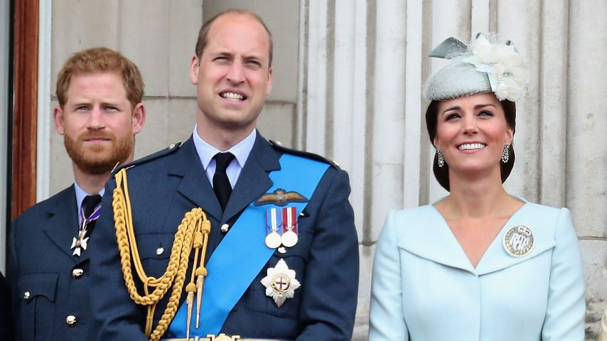 Prinz Harry, Prinz William und Herzogin Kate in London im Juli 2018