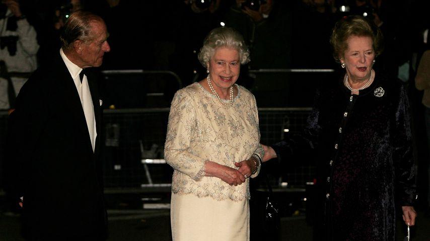 Prinz Philip, Queen Elizabeth II. und Margaret Thatcher im Oktober 2005