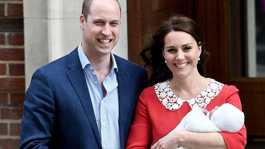 Prinz William, Herzogin Kate und ihr Baby vor dem St. Mary's Hospital