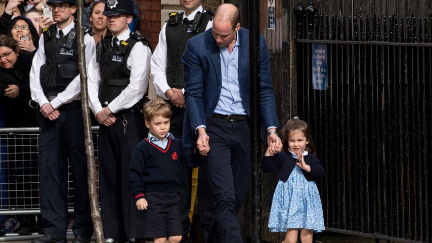 Prinz William mit seinen Kindern Prinz George und Prinzessin Charlotte in London