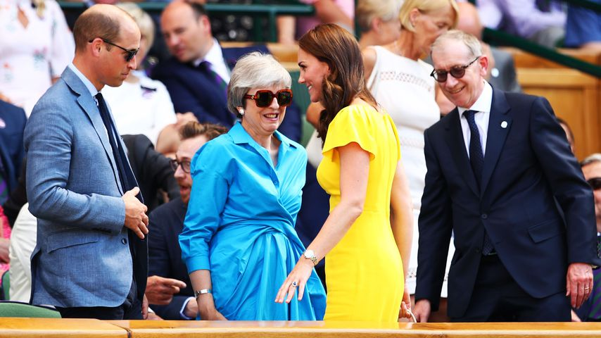 Prinz William, Theresa May, Herzogin Kate und Philip May beim Männerfinale in Wimbledon 2018