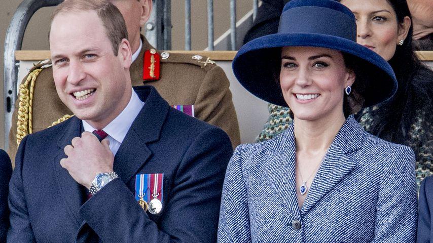 Gut behütet: Herzogin Kate strahlt mit William um die Wette!