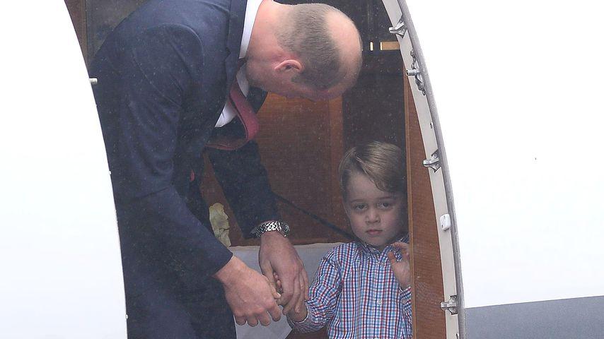 Prinz William und Prinz George am Flughafen in Warschau