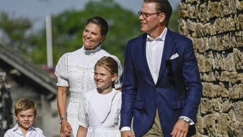 Prinzessin Victoria und Prinz Daniel mit ihren Kindern in Borgholm, Juli 2021