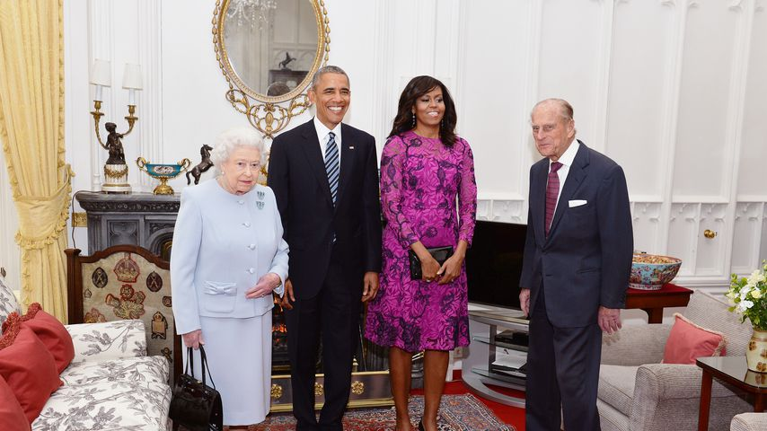 Queen Elizabeth II., Barack und Michelle Obama, Prinz Philip 2016 in Windsor