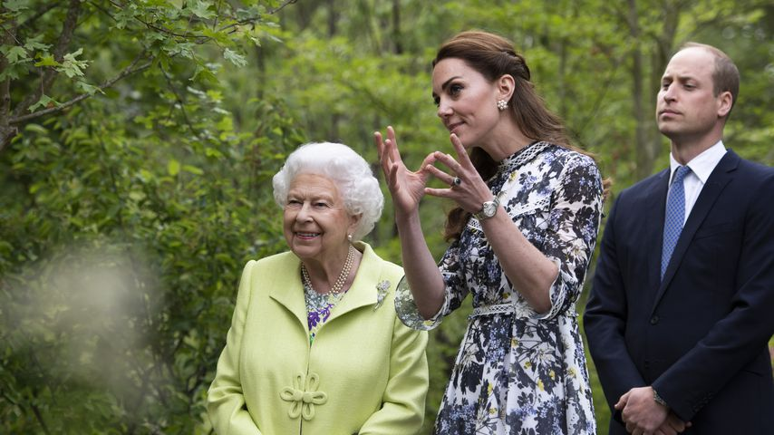 Queen Elizabeth II. mit Herzogin Kate und Prinz William im Mai 2019