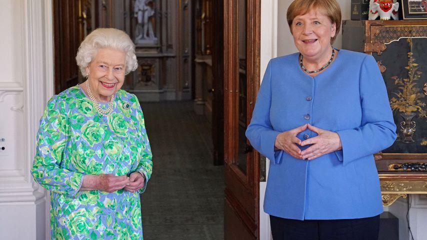 Queen Elizabeth II. und Angela Merkel bei einer Audienz in Windsor Castle im Juli 2021