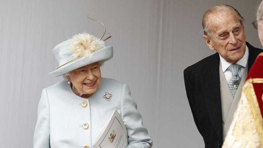 Queen Elizabeth II. und Prinz Philip auf einer Hochzeit 2018