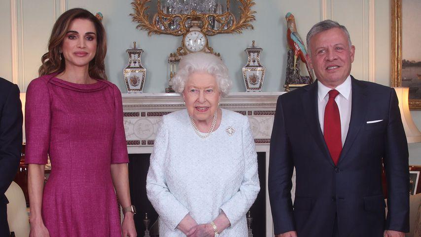 Queen Rania von Jordanien, Queen Elizabeth II. und King Abdullah II von Jordanien