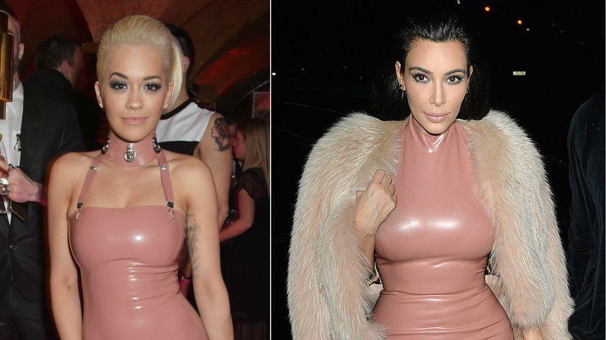 Peinlich? Rita Ora & Kim Kardashian in rosa Latex