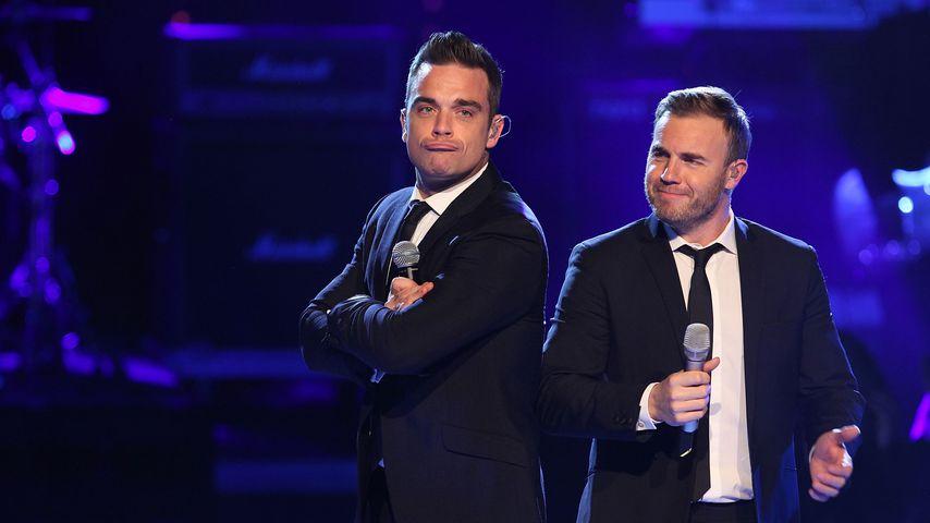 Robbie Williams und Gary Barlow auf der Bühne bei der Popstars Live Show in Köln