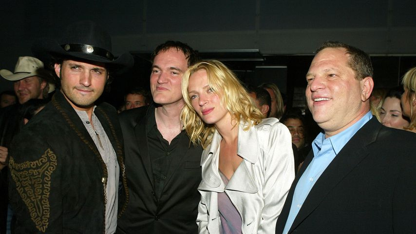 Robert Rodriguez, Quentin Tarantino, Uma Thurman und Harvey Weinstein in Los Angeles 2004