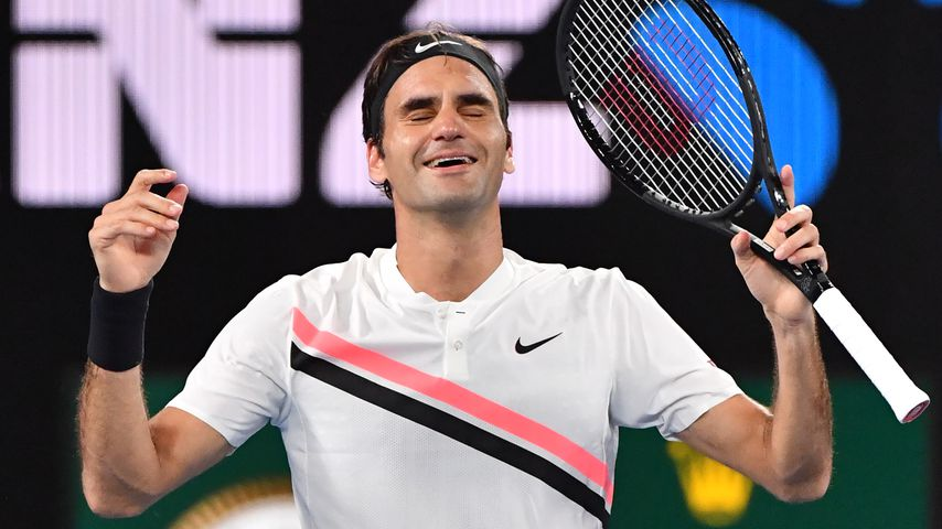 Roger Federer nach dem Sieg der Australian Open in Melbourne