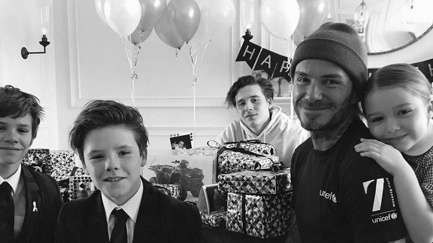 Familie Beckham: Romeo, Cruz, Brooklyn, David und Harper Seven