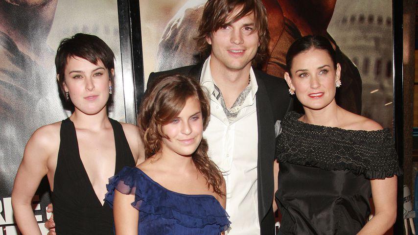Rumer und Tallulah Willis mit Ashton Kutcher und Demi Moore 2007