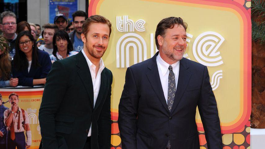 Die Hollywood-Stars Ryan Gosling (l.) und Russell Crowe
