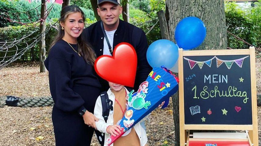 Sarah Engels und Pietro Lombardi mit ihrem Sohn Alessio an dessen Einschulungstag