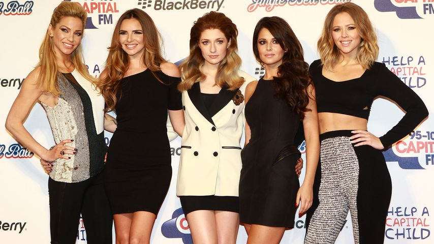 Sarah Harding, Nadine Coyle, Nicola Roberts, Cheryl Cole und Kimberley Walsh im Juni 2012