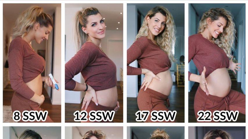Kugel-Collage: So entwickelte sich Sarah Harrisons Babybauch