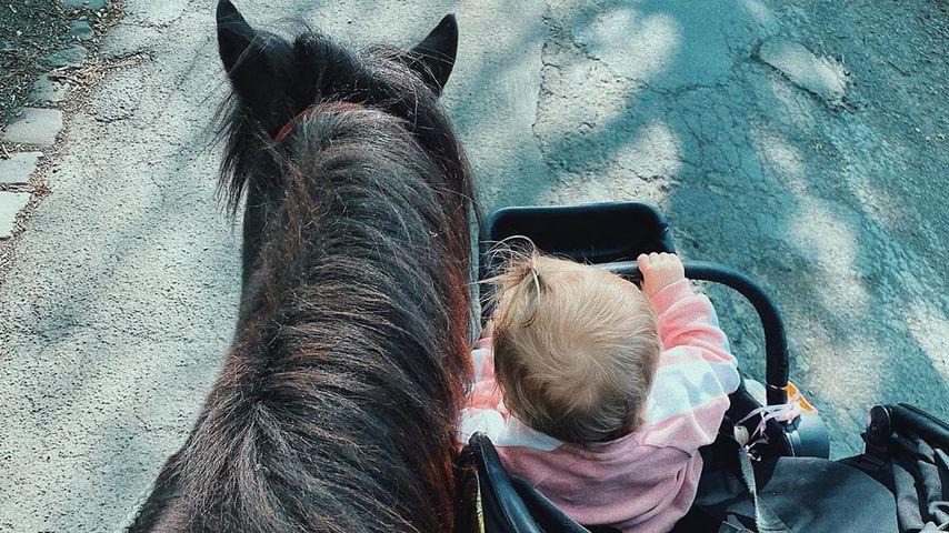 Scarlett Gartmann führt Pferd und Kind aus