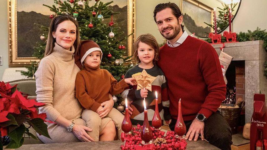Prinzessin Sofia und Prinz Carl Philip von Schweden mit ihren Söhnen, Dezember 2020