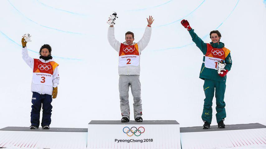 Shaun White mit Ayumu Hirano und Scotty James in Pyeongchang 2018