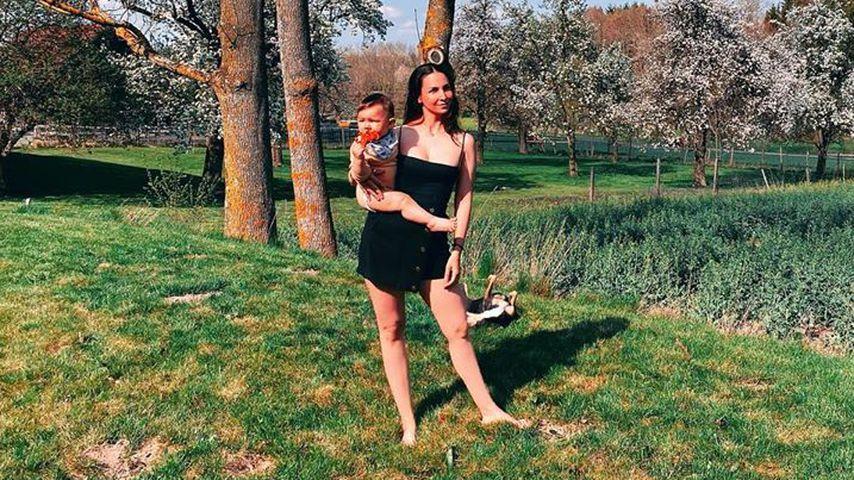 Sila Sahin mit ihrem Sohn Noah, April 2020