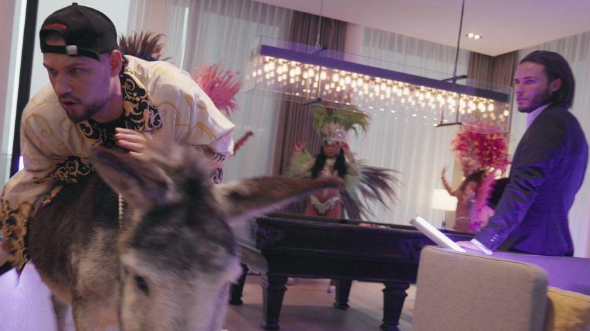 Slavik mit Esel und Samba-Tänzerinnen im Hotel