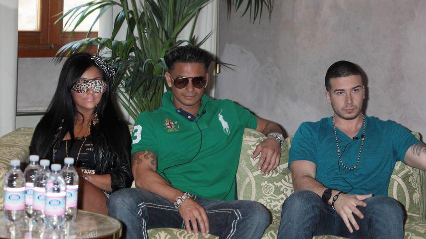 """Snooki, Pauly D und Vinny Guadagnino bei einer Pressekonferenz für """"Jersey Shore"""""""