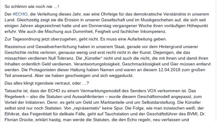 Statement von Peter Maffay zum ECHO-Eklat