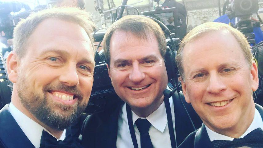 Steven Gätjen mit seinem Kameramann und US-Reporter Scott Orlin, Oscars 2019