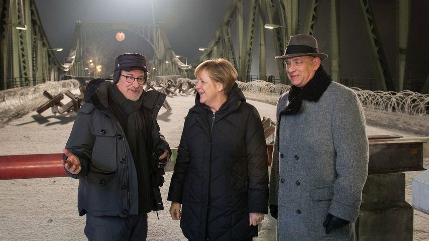 Steven Spielberg, Angela Merkel und Tom Hanks, 2015 in Berlin