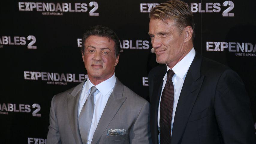 """Sylvester Stallone und Dolph Lundgren bei der """"The Expendables 2""""-Premiere im August 2012"""