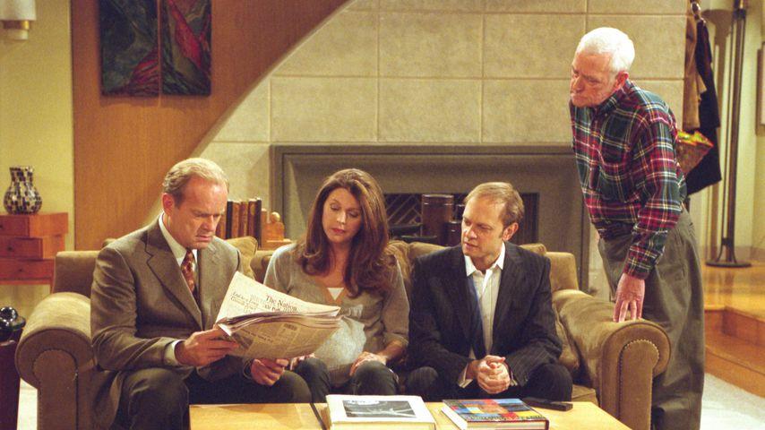 "Kelsey Grammer, Jane Leeves, David Hyde Pierce und John Mahoney in ""Frasier"""